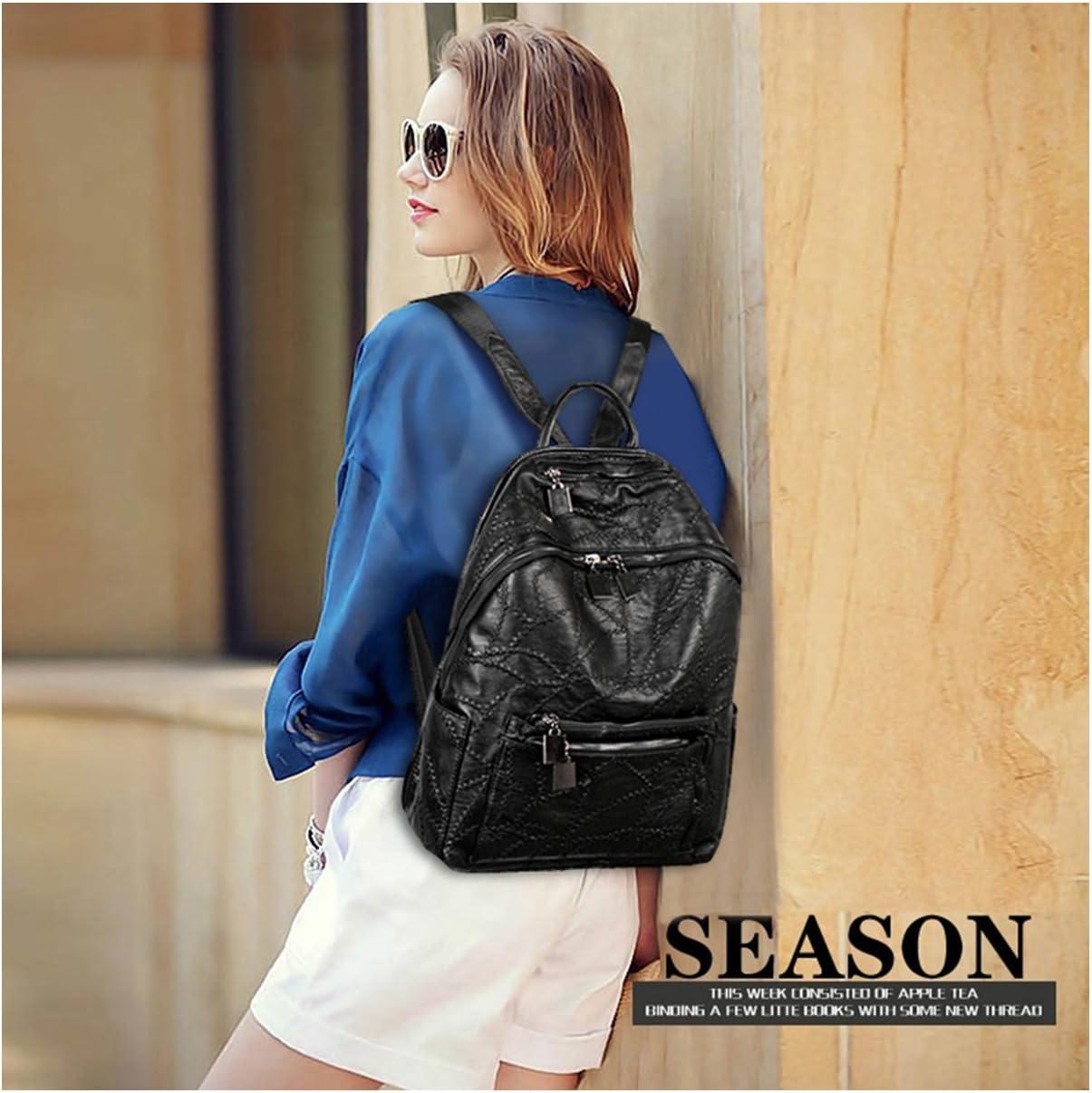 Backpack purse for women Black stitich leather knapsack shoulder bags for man