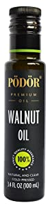 PÖDÖR Premium Walnut Oil - 3.4 fl. Oz. - Cold-Pressed, 100% Natural, Unrefined and Unfiltered, Vegan, Gluten-Free, Non-GMO in Glass Bottle