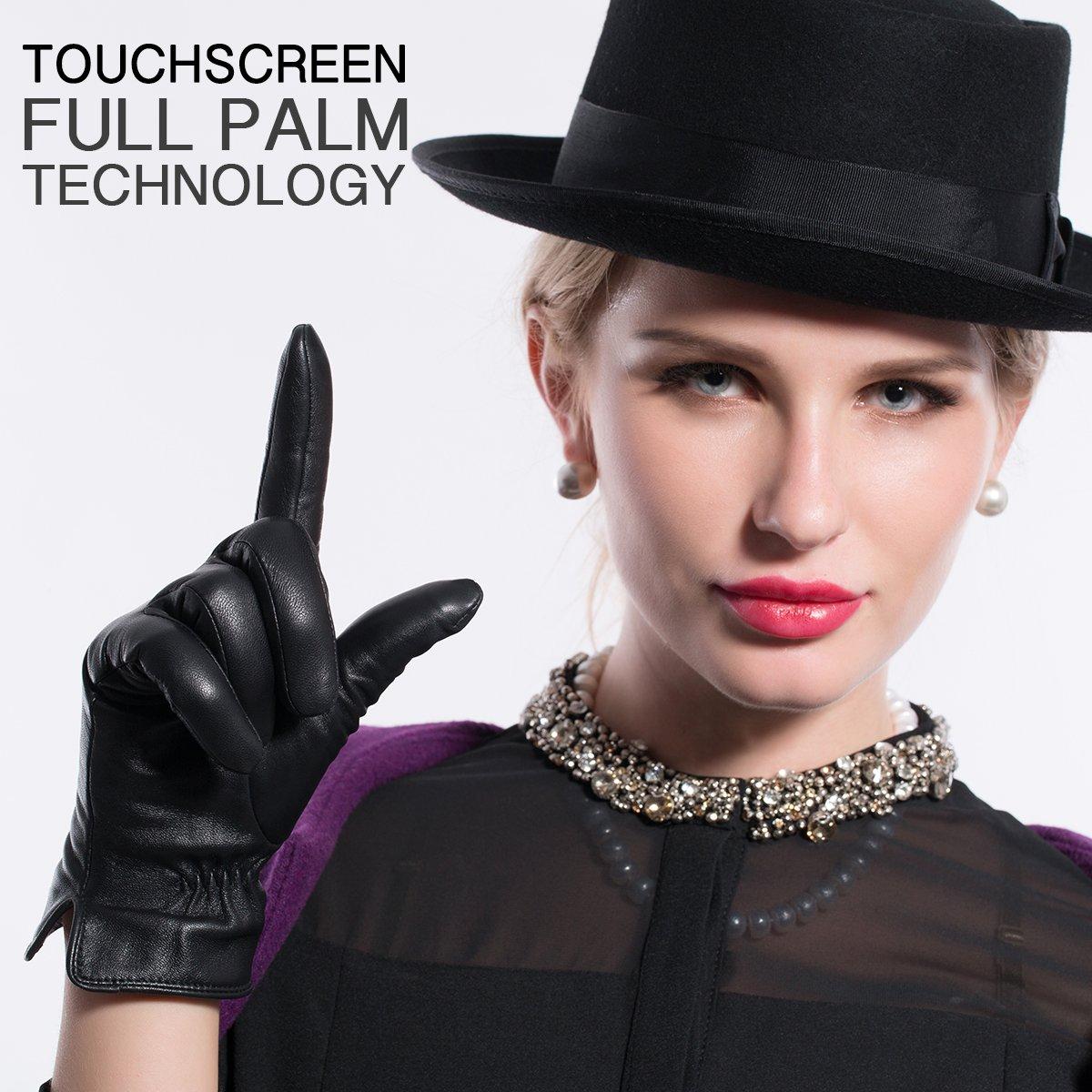 Kursheuel 14 colors Cashmere Women Lady's Genuine lambskin soft leather driving Gloves KU141 (L, Purple) by Kursheuel (Image #9)