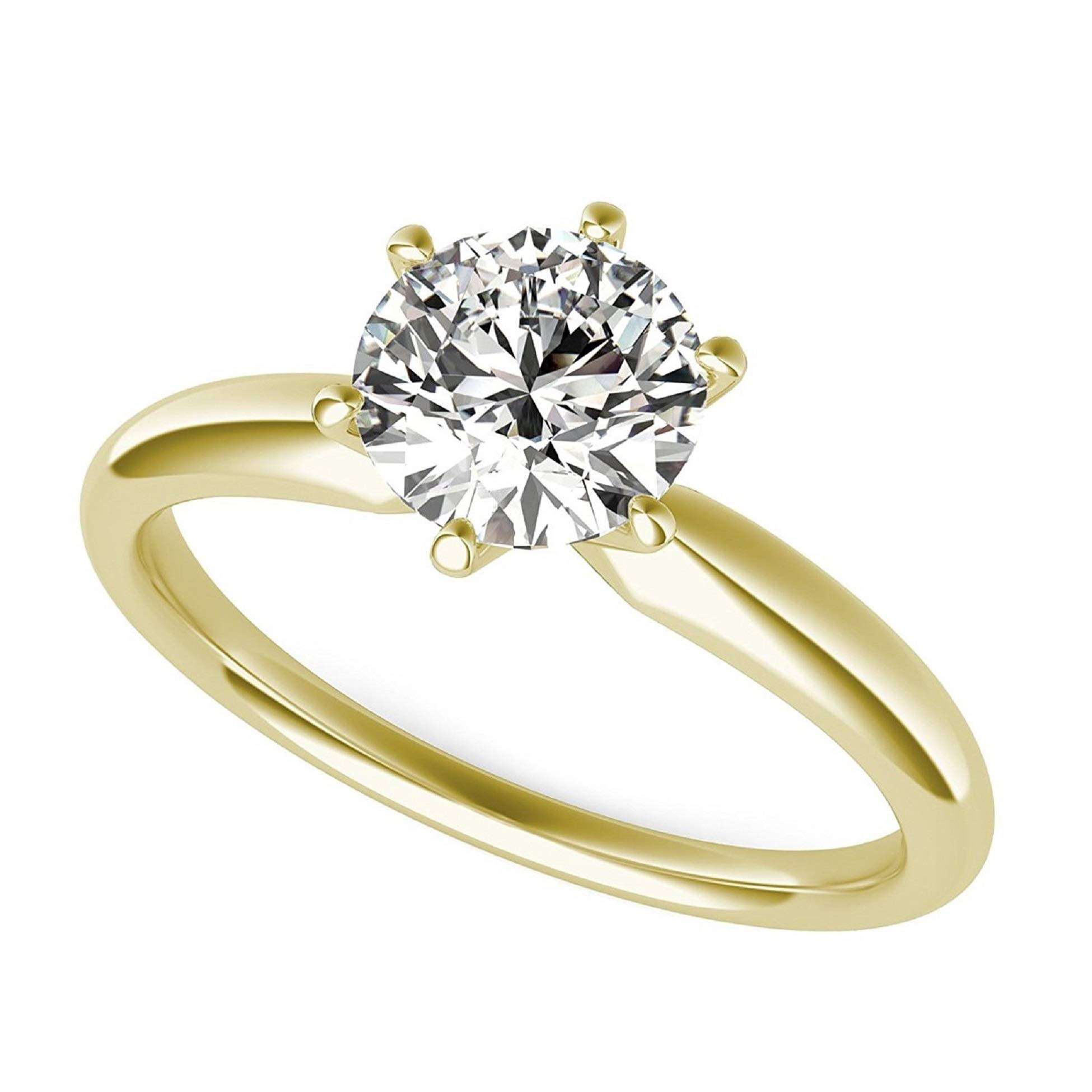 2.0 ct Brilliant Round Cut Solitaire Highest Quality moissanite Engagement Wedding Bridal Promise Anniversary Ring in Solid Real 14k Yellow Gold for Women, Size 8.25