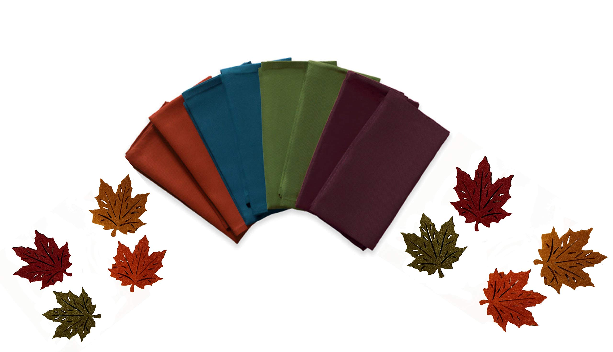 Sister Shoppe Dinner Napkins and Leaf-Shaped Napkin Rings Set of 8 of Each in Fall Harvest Solid Colors