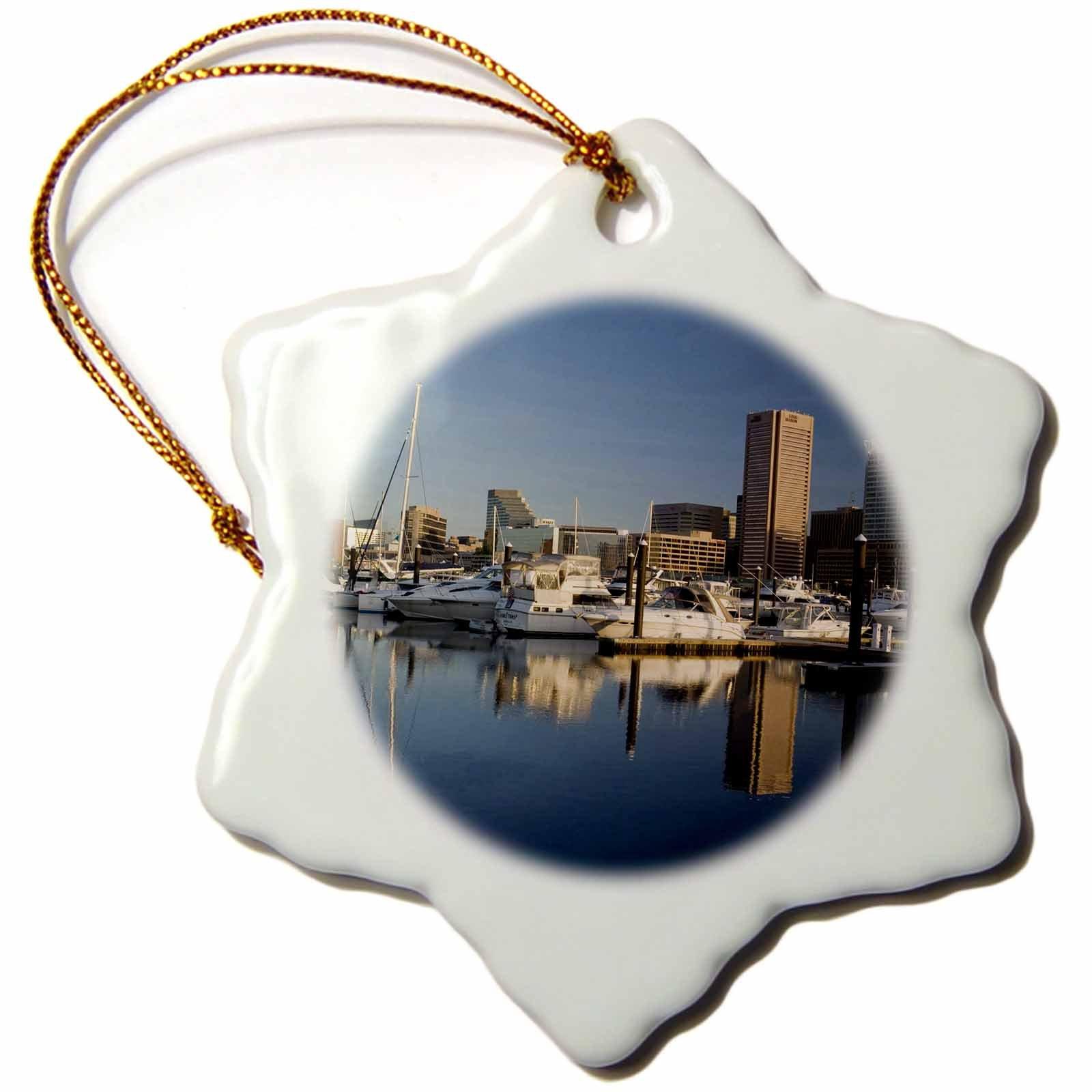 3dRose LLC orn_90790_1 Porcelain Snowflake Ornament, 3-Inch, Maryland, Baltimore, Intercontinental Hotel-Brent Bergherm