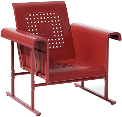 Crosley Furniture Veranda Metal Outdoor Single Glider Chair   Coral Red