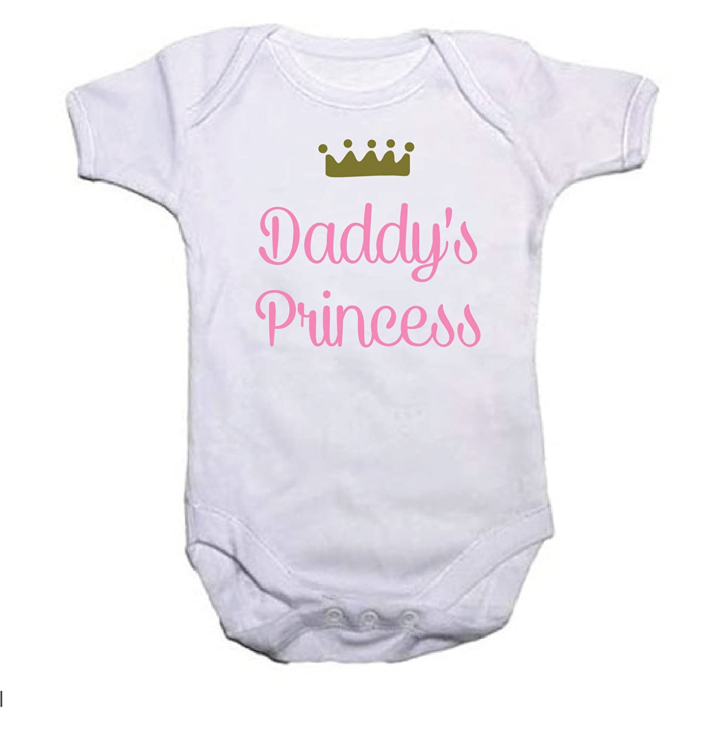 Pretty Little Stickers Personalised Princess /& Crown Girls Baby Grow//Vest