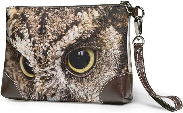 Owl Head Printed Clutch Purse Detachable Leather Wristlet Wallet Bag Women Handbags Money Pouch