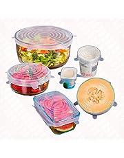 Aiming 6pcs / Set Reutilizable Fresco Mantener Wrap Silicona Extender succión Tapa-Bowl Cacerola Cubrir los Alimentos Cocinar la Cacerola Tapas de derrames