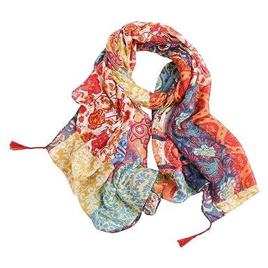 a4911d053f8 TOPSTORE01 Foulard Femme Pivoine Colorée Belle Écharpe Châle Voyage  (Couleur1)