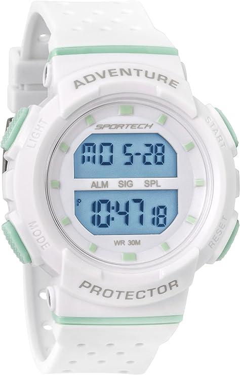 Sportech – Reloj digital deportivo para mujer, resistente al agua, color menta y blanco, SP12701