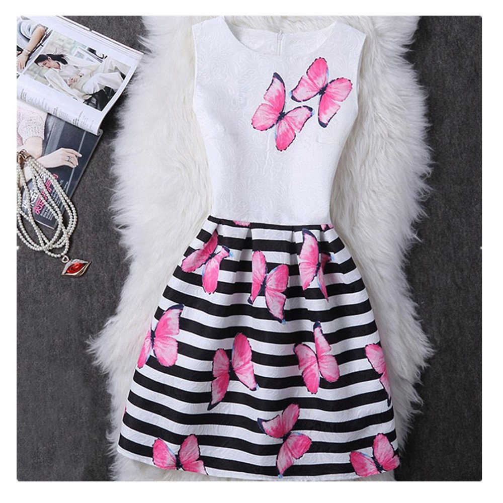 Amaping Women Parent-Child Sleeveless Butterfly Print Blouse Outfit Strip Floral Printing Princess Dress (140, Red for Daughter)