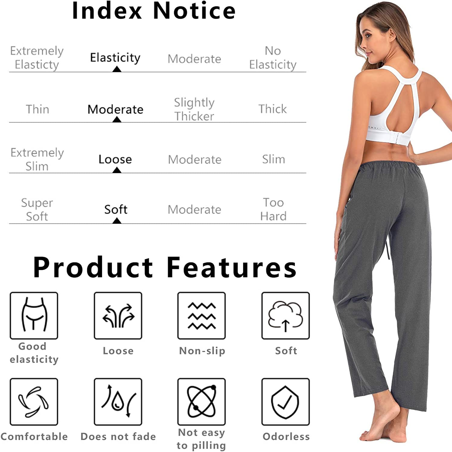 Cotton Pants for Women Yoga Running Sporting Womens Sweatpants with Pockets Drawstring Wide Leg Lounge Pants