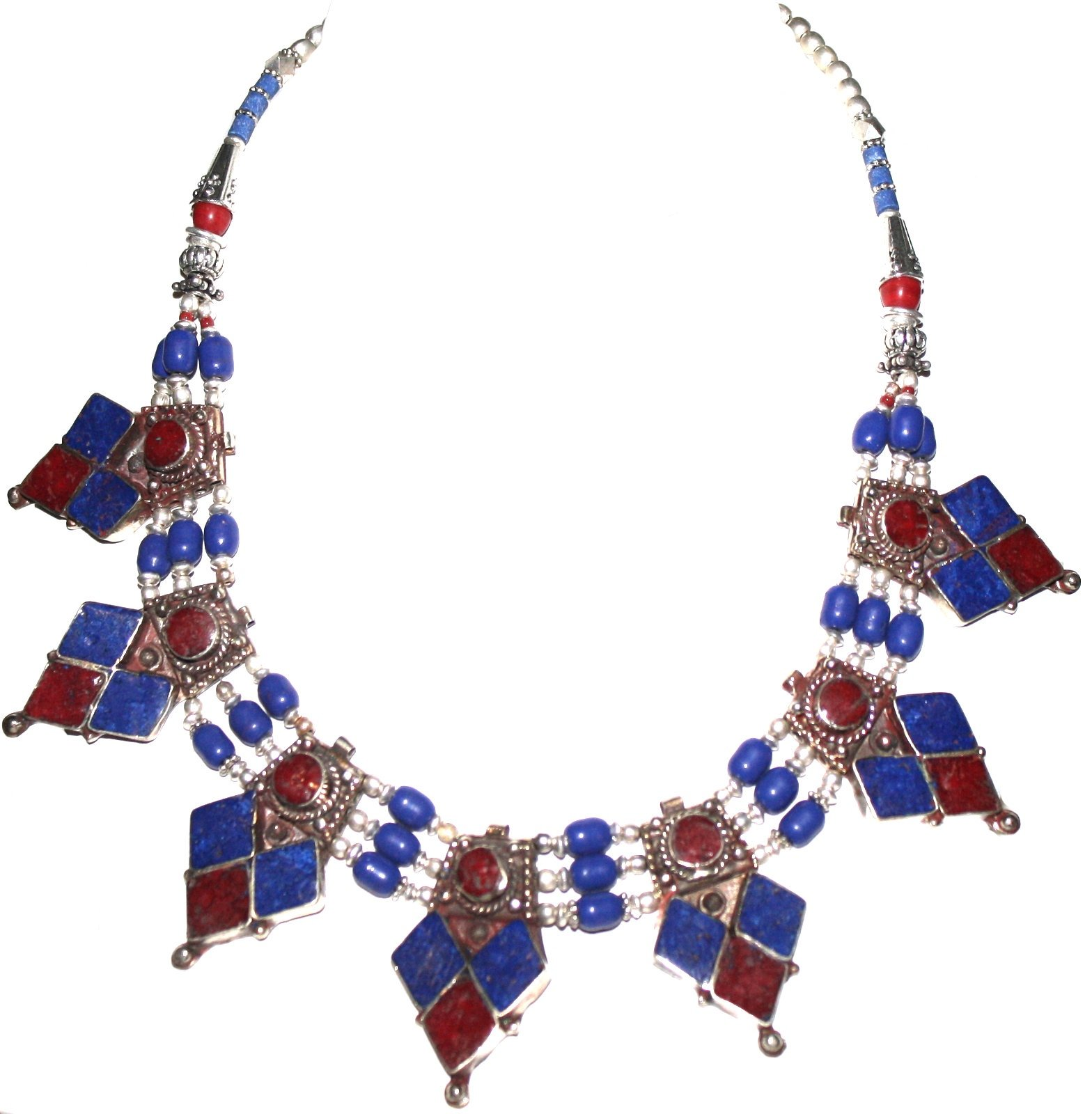 Coral Lapis Tibetan Necklace Known As Boho Necklace, Nepal Necklace, Gypsy Necklace
