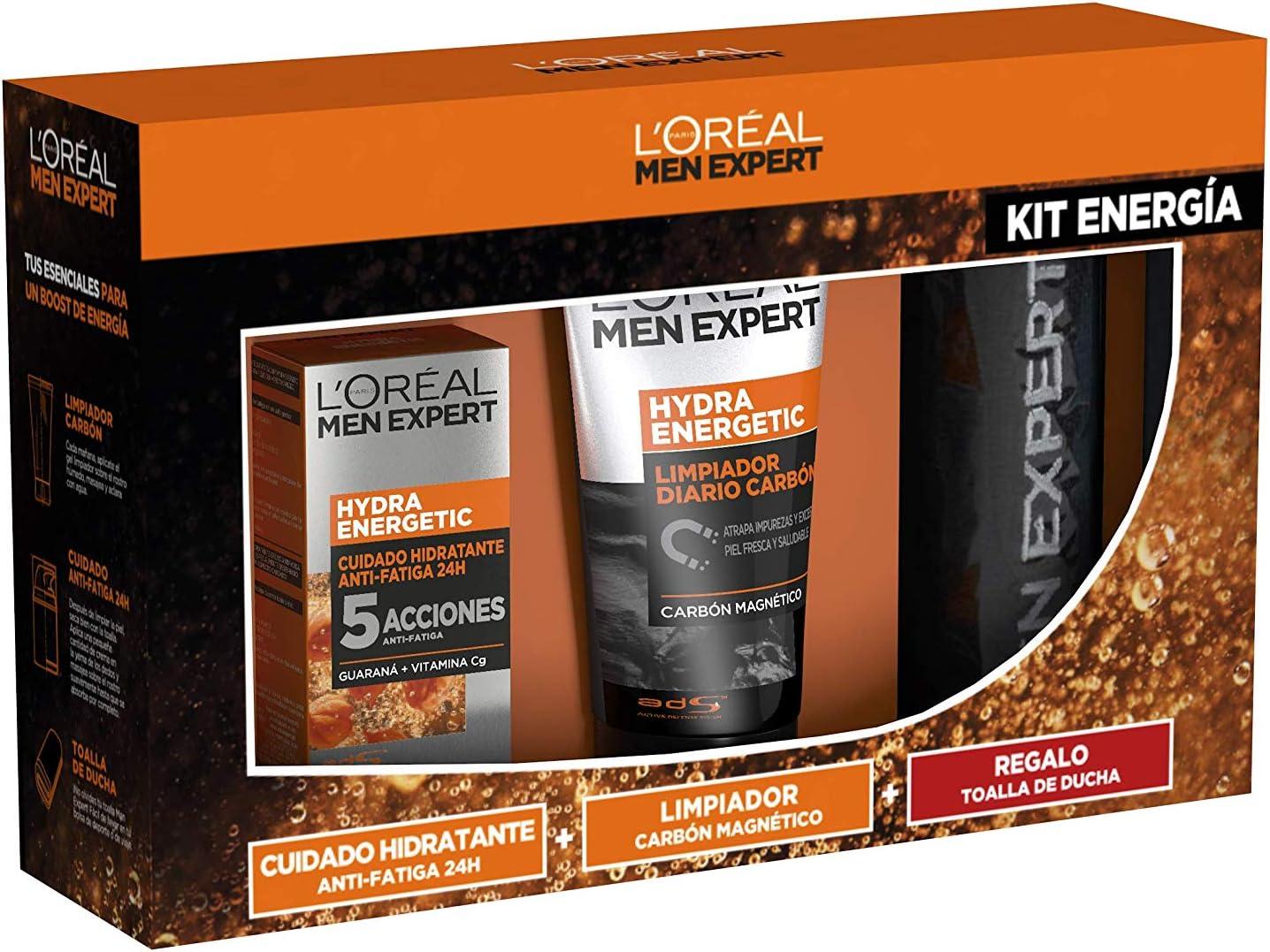 L'Oréal Men Expert - Hydra Energetic Kit Energía, Incluye Crema Cuidado Hidratante Anti-Fatiga, Limpiador Carbón Magnético y Toalla de Ducha de Regalo