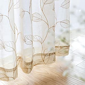 Embroidered Sheer Curtains for Living Room 84 inch Long Geometric Leaf Embroidery Voile Window Curtains Rod Pocket Bedroom Window Treatment Set 2 Panels Taupe