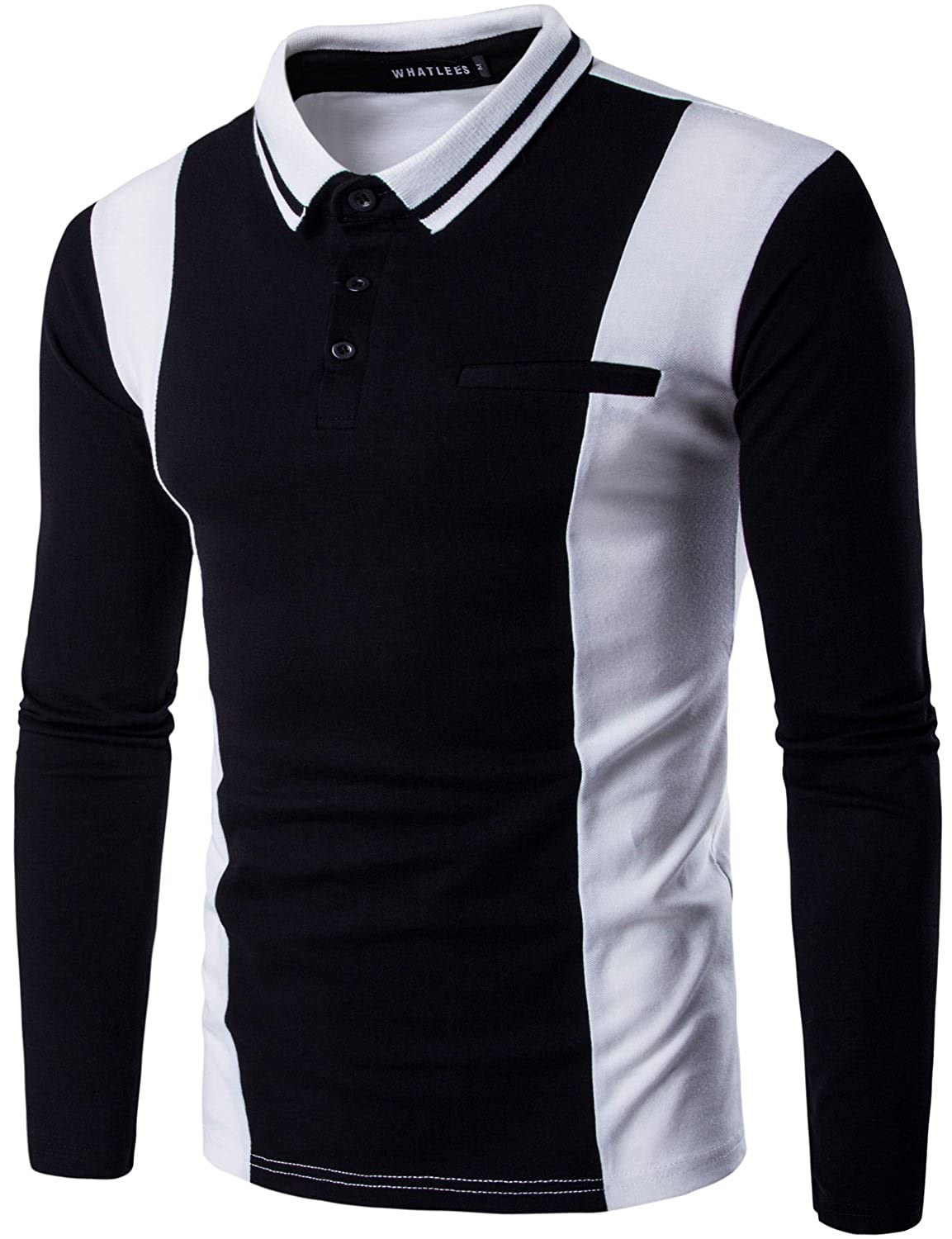 Whatlees Men's Casual Slim Fit Long Sleeve Polo Shirts Tops