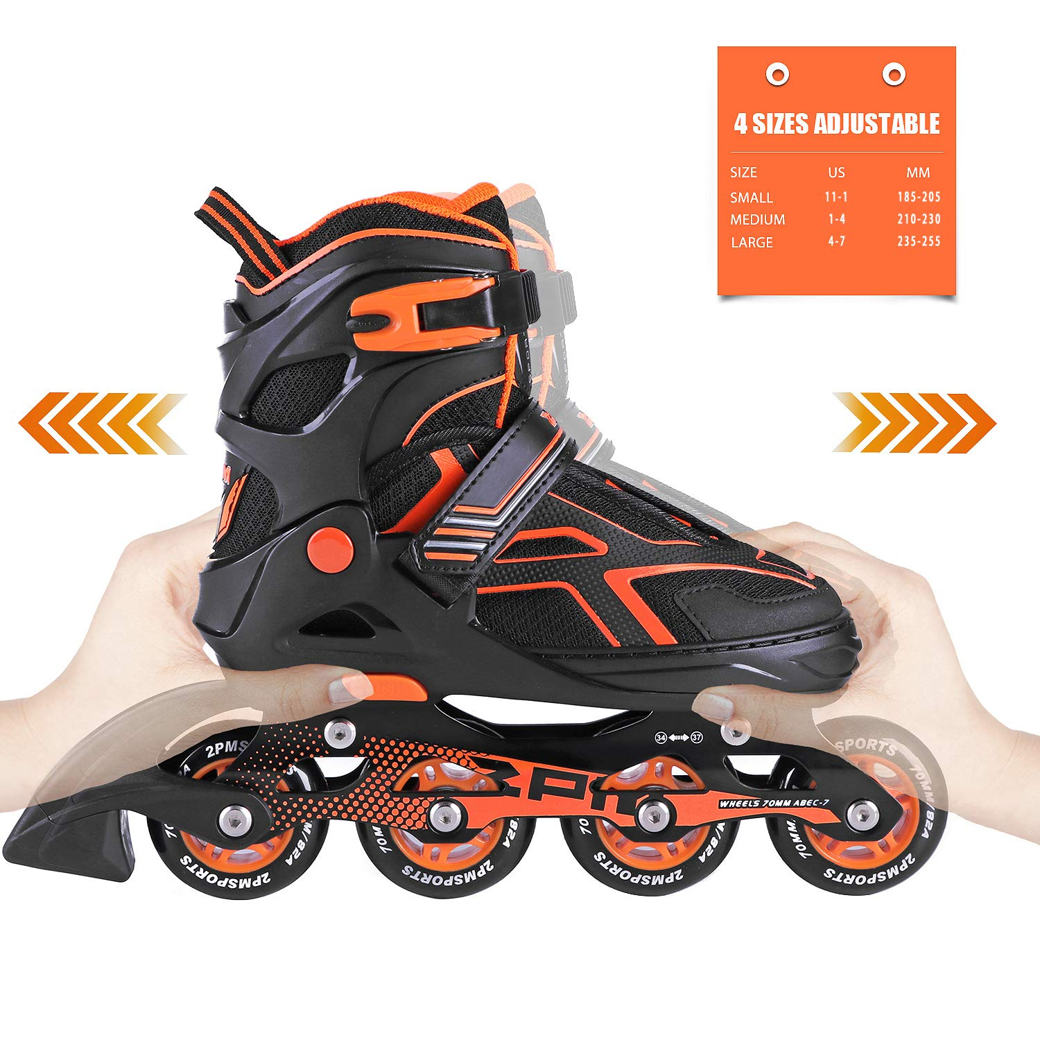 2PM SPORTS Torinx Orange Black Boys Adjustable Inline Skates, Fun Skates for Kids, Beginner Roller Skates for Girls, Men and Ladies - Medium (US 2-5) by 2PM SPORTS (Image #2)