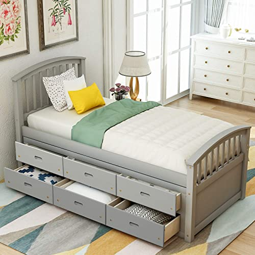 Merax Twin Size Platform Storage Bed Twin Bed Frame Solid Wood Daybed