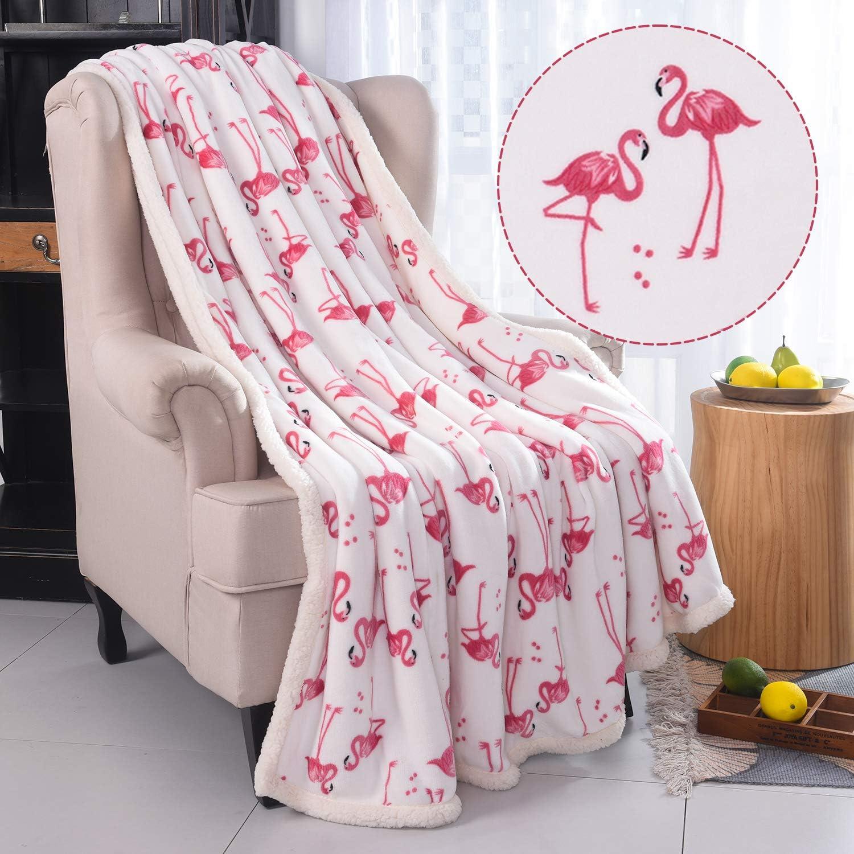 Cozy Blankets For Kids Plush Blanket,Fluffy Blanket,Bed Throw Blanket Velvet Blanket Thick Fleece RHF Flamingo Fuzzy Blanket Thick Fleece,Flamingo Gifts Kids Blanket,Couch Blanket ,White Throw