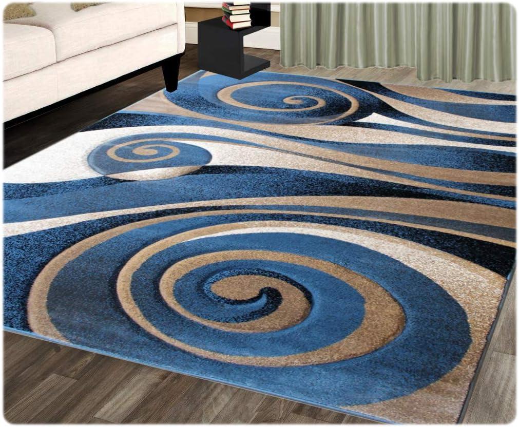 Modern Area Rug Design Sculpture 258 Blue 5 Feet 2 Inch X 7 Feet 1 Inch Home Kitchen