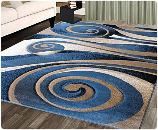 Amazon Com Modern Area Rug Design Sculpture 258 Blue 5 Feet 2 Inch X 7 Feet 1 Inch Home Kitchen