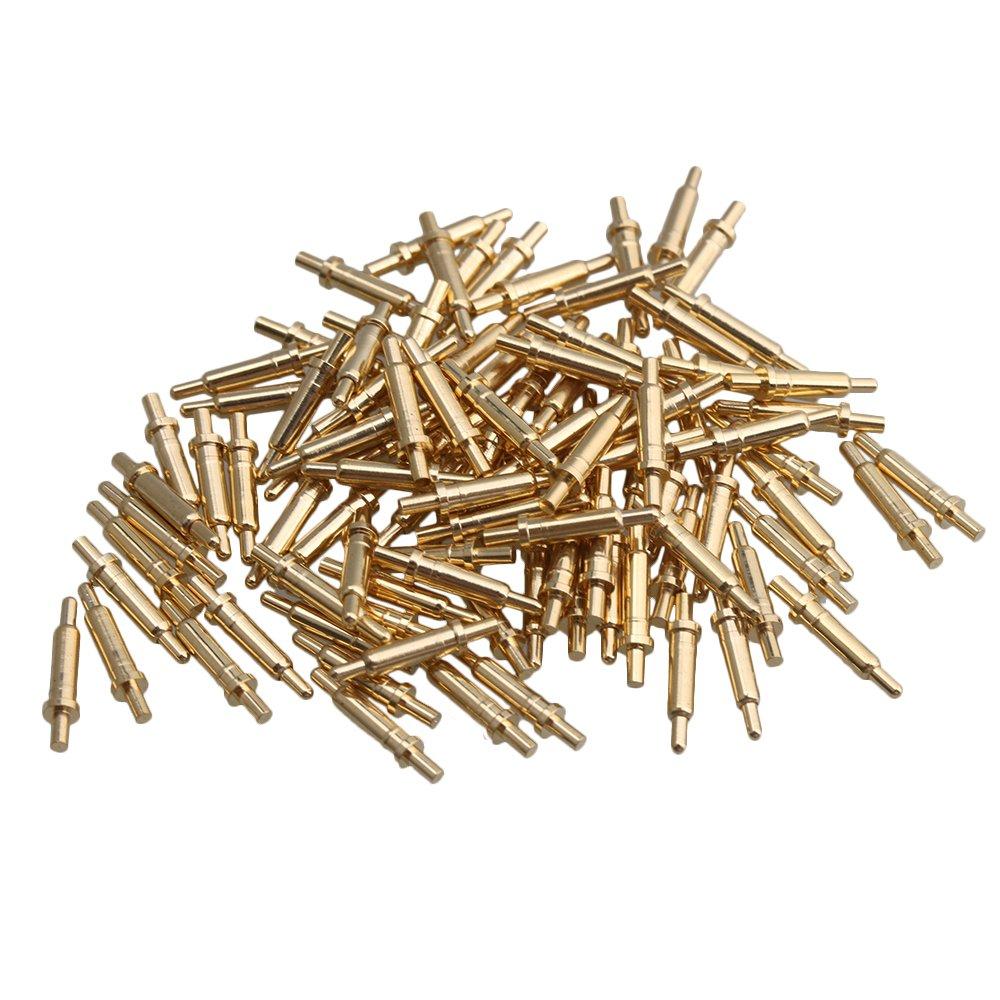 100 Conectores chapados en Oro con Forma de pogo de sonda de Resorte de 2,0 mm Yibuy
