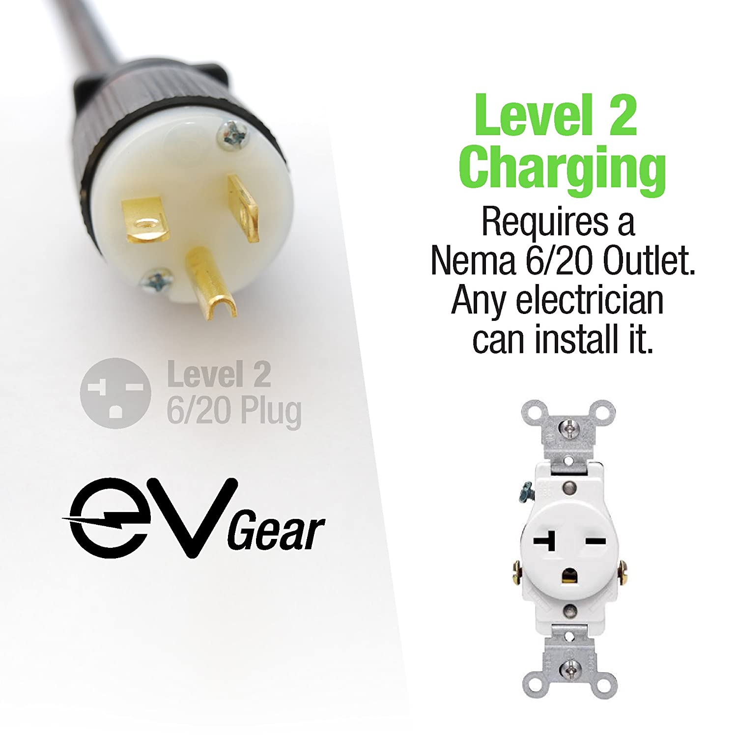Level 2 Ev Charger By Gear 30 Ft Portable Plug In Nema 6 15 Receptacle Wiring Diagram 110v 240v Includes 1 Adapter Works With All Electric Hybrid Cars