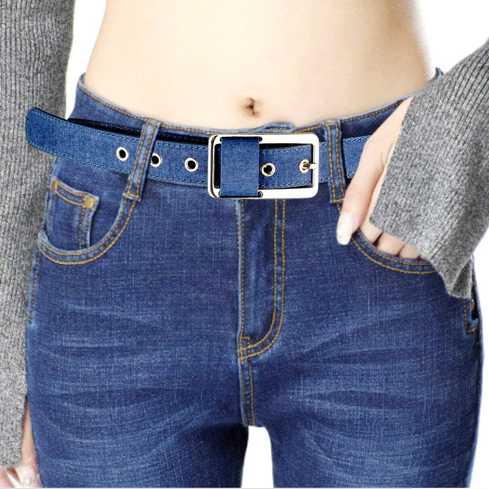 Denim Fabric Frog Belt Jeans Ladies Waist Belts With Pin Gold Silver Buckle for Women Pants Dress