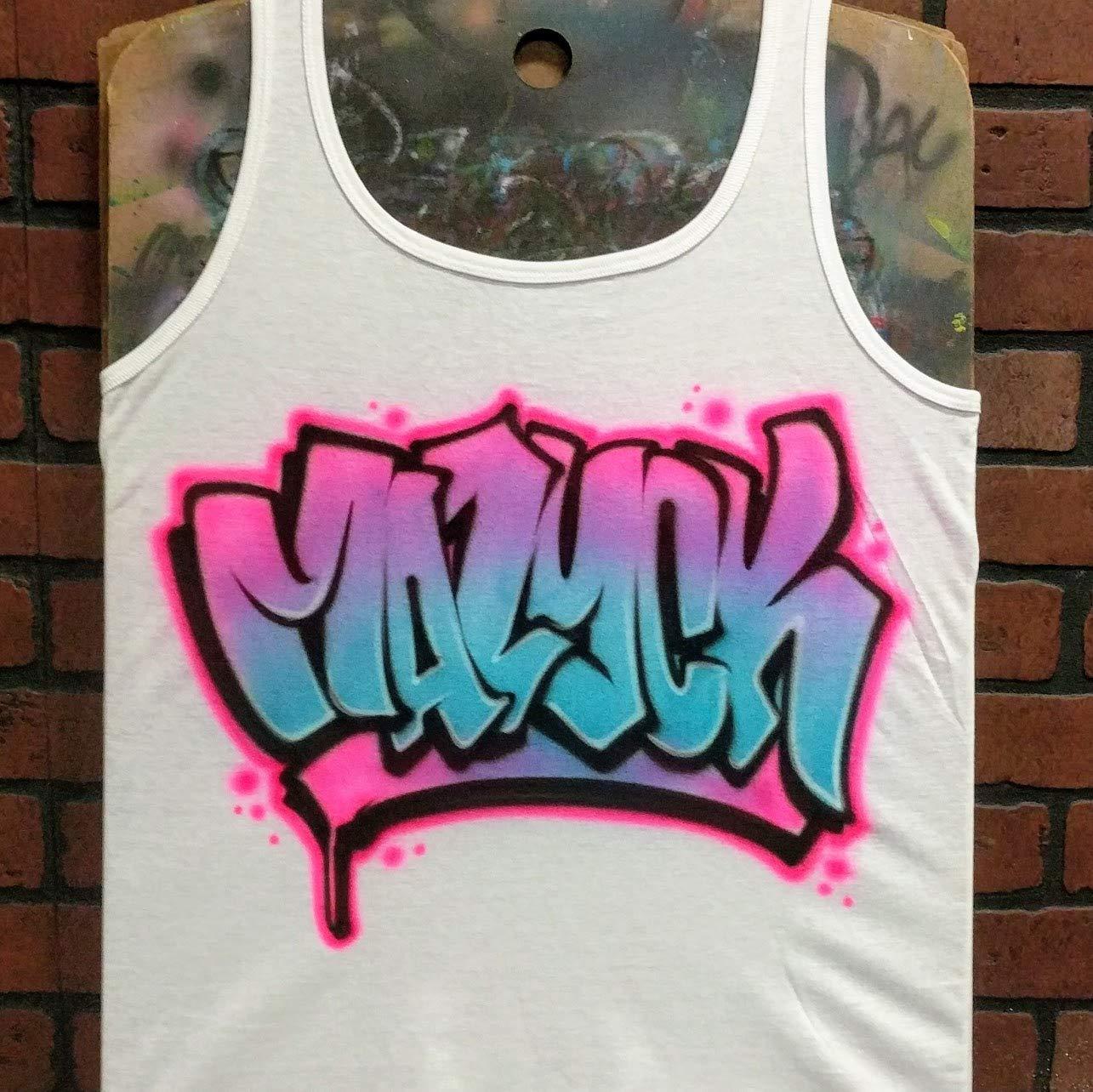 Amazon Personalized Airbrush Tank Top Graffiti Name Design