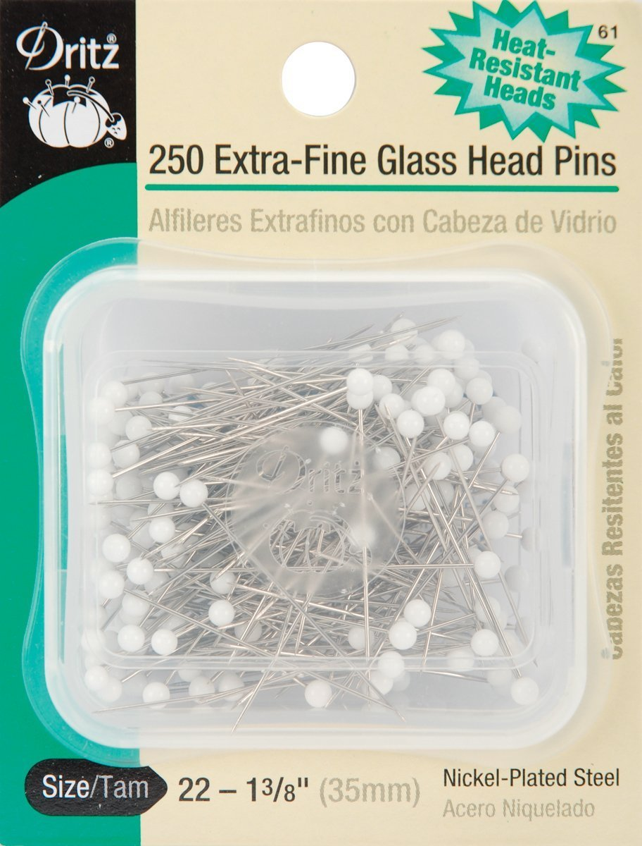 Dritz 1-3/8-Inch Extra Fine Glass Head Pins, 250 Count 61
