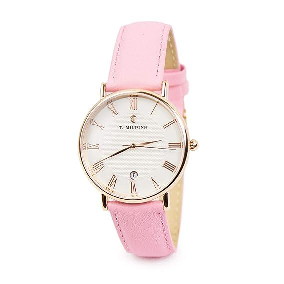 Reloj mujer extra-plate chapado oro rosa pulsera cuero rosa