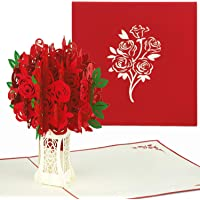 PaperCrush® Pop-Up Karte Muttertag Rote Rosen - 3D Muttertagskarte, Geburtstagskarte mit Rosenstrauß für Mutter oder Oma - Romantische Hochzeitstag Karte für Frau, Partnerin