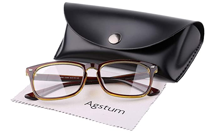 7d8bdd06c650 Agstum Classic Full Rim Plain Glasses Frame Eyeglasses Clear Lens (Brown