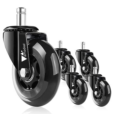 Amzdeal - 5 ruedas silenciosas de 11 mm cada una para silla de escritorio - Juego de ruedas ...