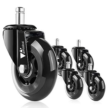 Amzdeal - 5 ruedas silenciosas de 11 mm cada una para silla de escritorio - Juego