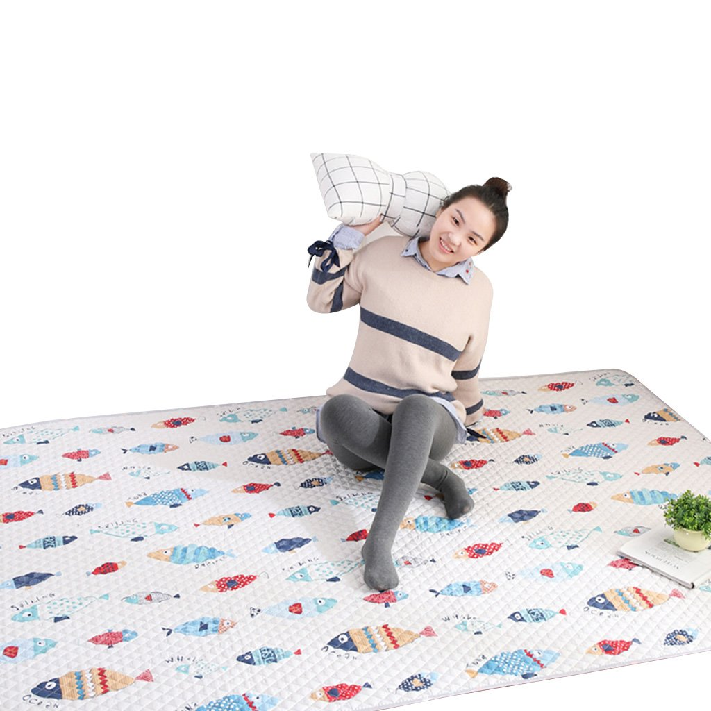 White Fish Pattern Cartoon Cotton Solid Color Household Tatami Crawler pad Machine can be Washed