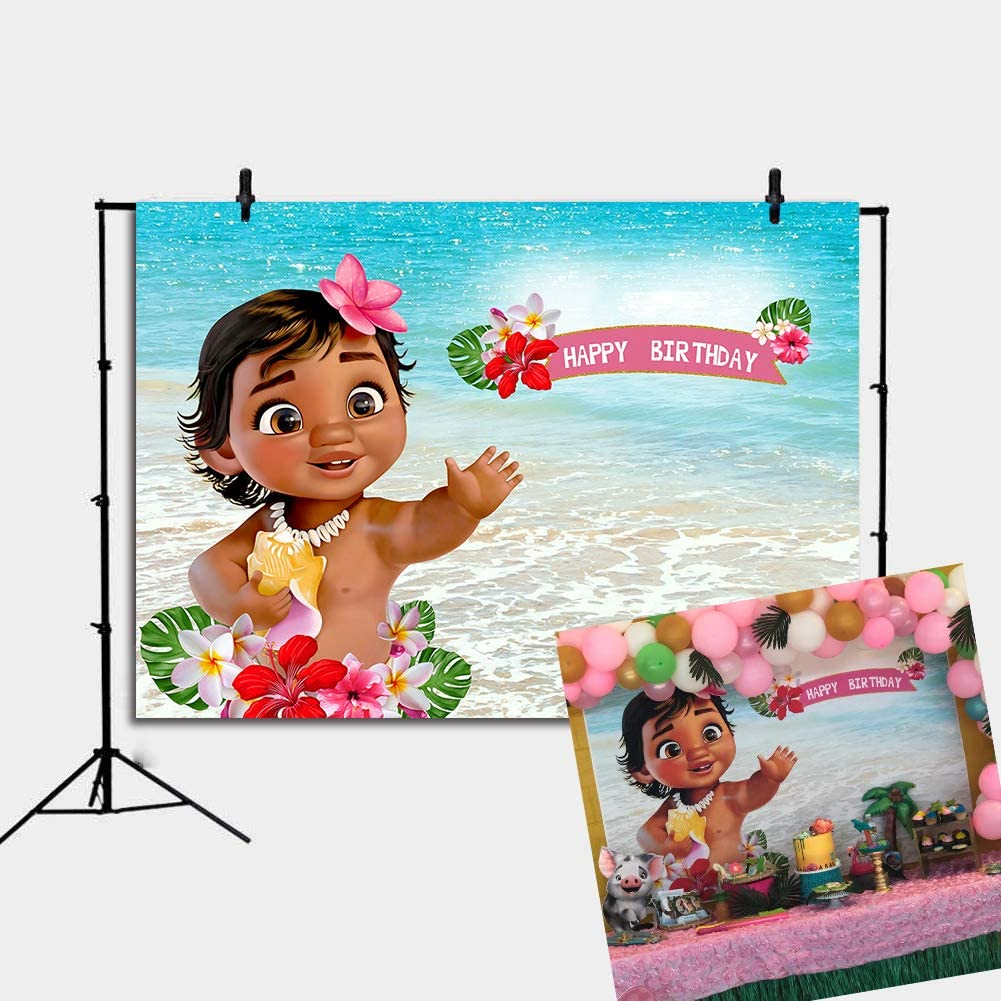 Daniu Baby Moana Backdrop Birthday Party Decor Banner Sea Blue Water Summer Photography Backdrop Baby Shower Vinyl Background Table Decoration