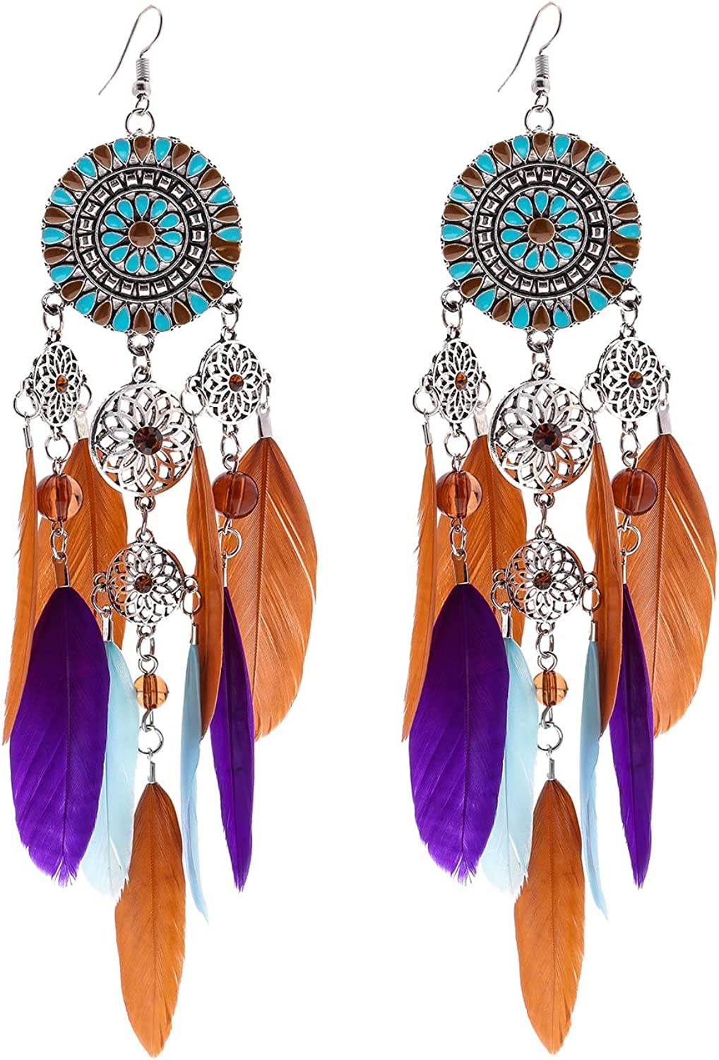 Colorful Bohemian Feather Dangle Drop Earring Gifts for Women Girls Jewelry000001001984