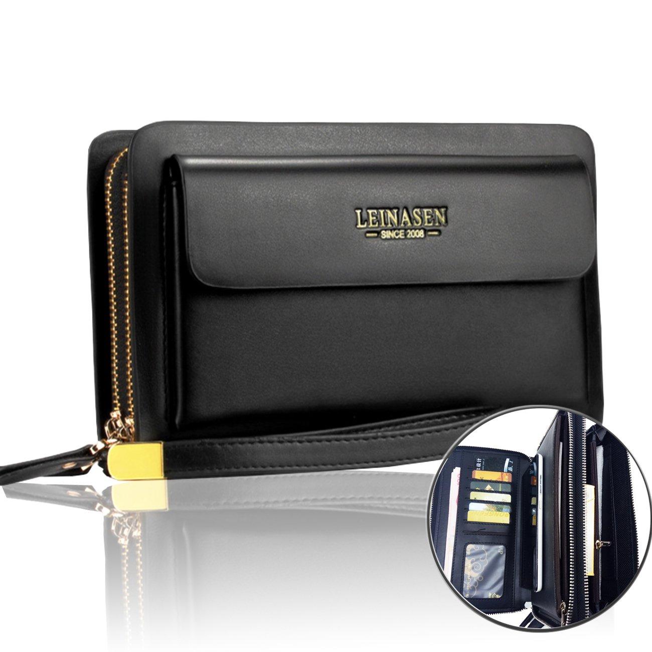Sllybo Men Clutch Bag Business Handbag Wallet for Men Organizer Zipper Checkbook Wrist Bag (style 03)