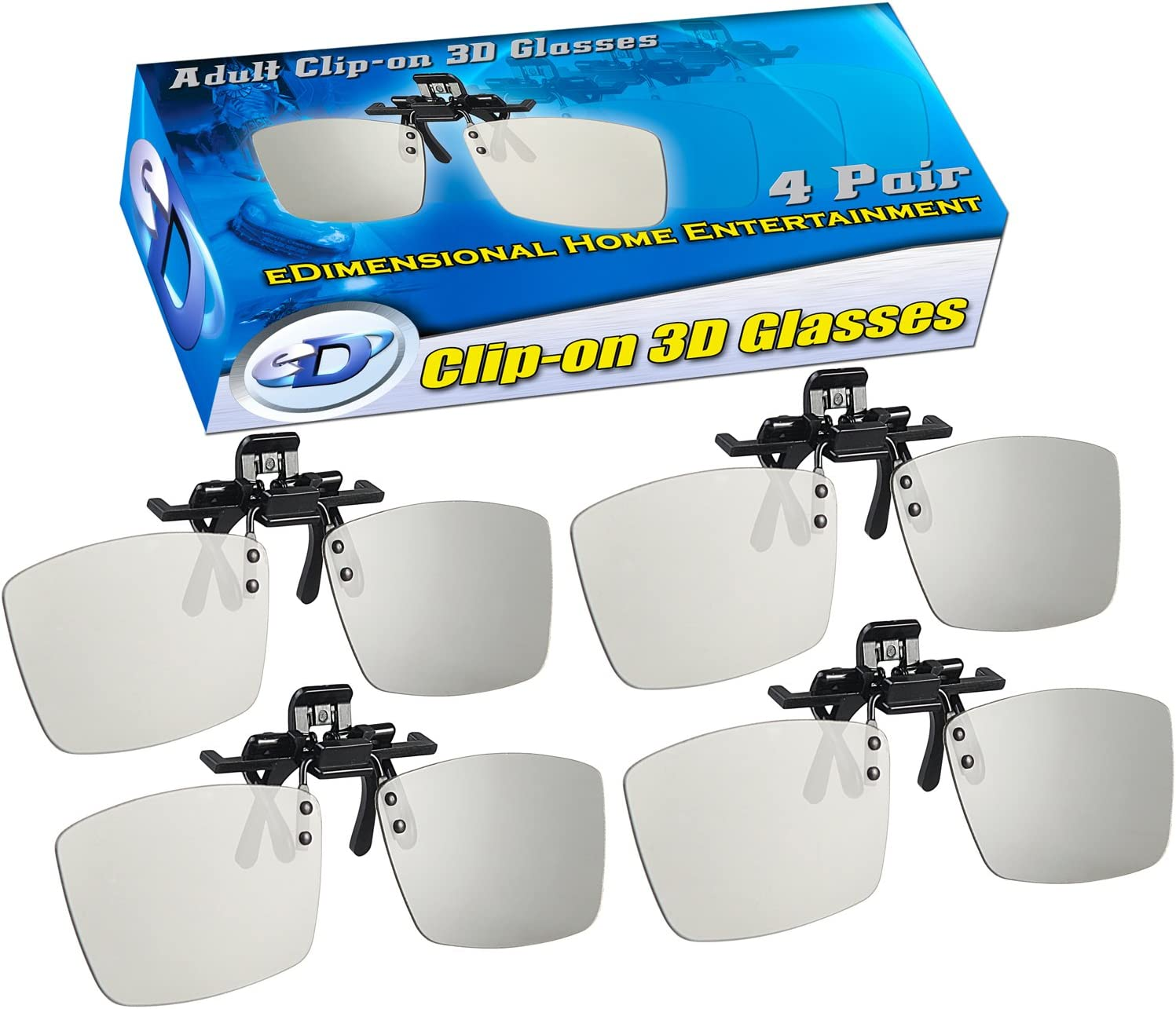 Toshiba LG ClipOn 4 Pack Panasonic Philips and JVC 4 Pack Clip-ON Passive 3D Glasses Genuine eDimensional Sealed Circular Polarized 3D Glasses for Passive 3D TVs Televisions from Sony Vizio