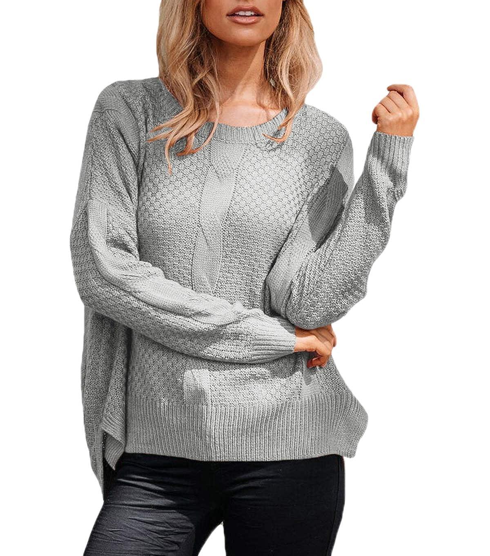 JackenLOVE Otoño Mujeres Prendas de Punto Invierno Moda Tejer Tops Suéter Irregular Sweaters Jumper Blusa Casual Cuello Redondo Manga Larga Jerséis Pulóver: ...