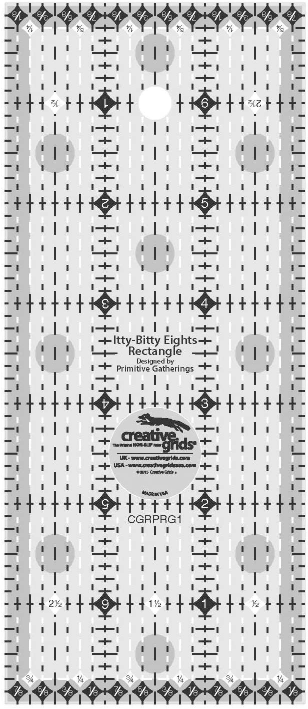 Creative Grids Itty Bitty Eights 3 x 7 Rectangle Quilting Ruler Template CGRPRG1