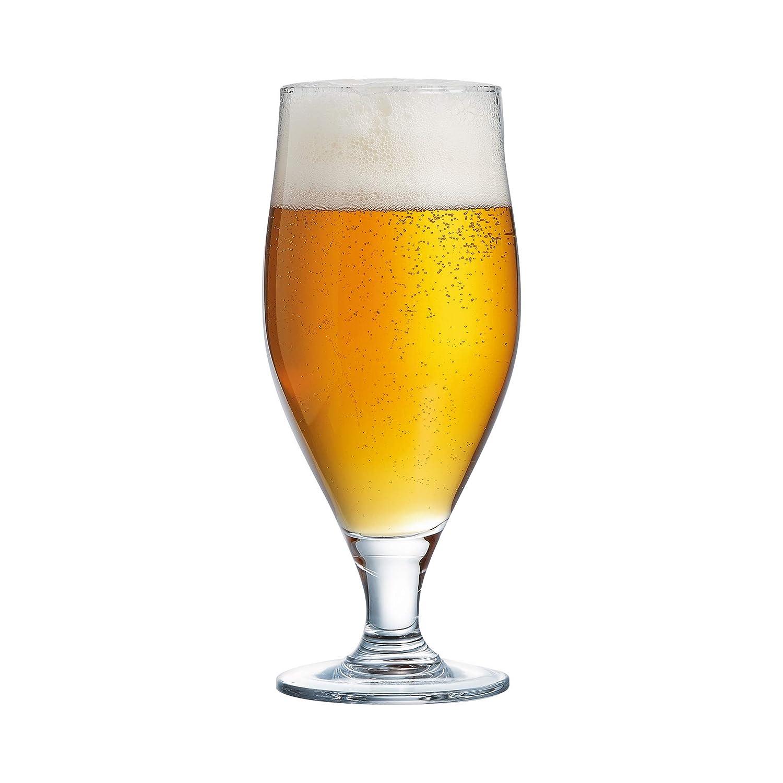 Juego de vasos de cerveza, de pie alto, 260 ml, vasos de 26 cl, vasos de cerveza ideal para cerveza artesanal, cerveza rubia, vasos estilo Pokal Americano, 6 unidades