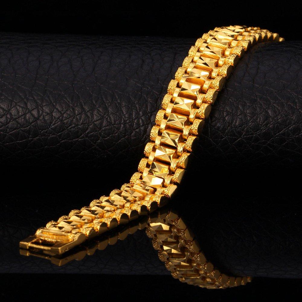 U7 Men Wrist Chain Bracelet 18K Gold Plated 12mm Wide Link Bracelets 21CM by U7 (Image #3)