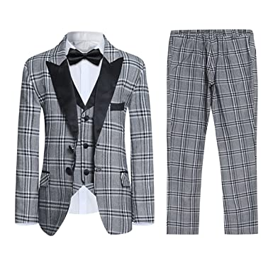 93977823f1159e Amazon.com: Boyland Boys' Suits Grey 3 Pieces Slim Fit Plaid Formal ...