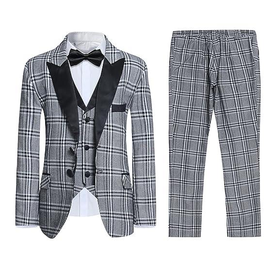 a0d4b44194b58 Boys Grey Check Suits 3 Piece Slim Fit Page Boy Suit Wedding Plaid Lapel Tuxedo  Dress Waistcoat Trousers Age 1-15: Amazon.co.uk: Clothing