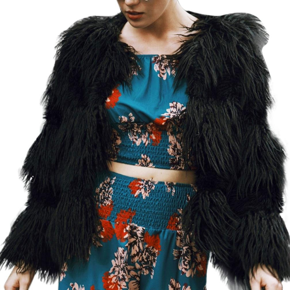 Sonnena New Ladies Womens cálido abrigo de piel sintética chaqueta Parka de invierno ropa negro negr...