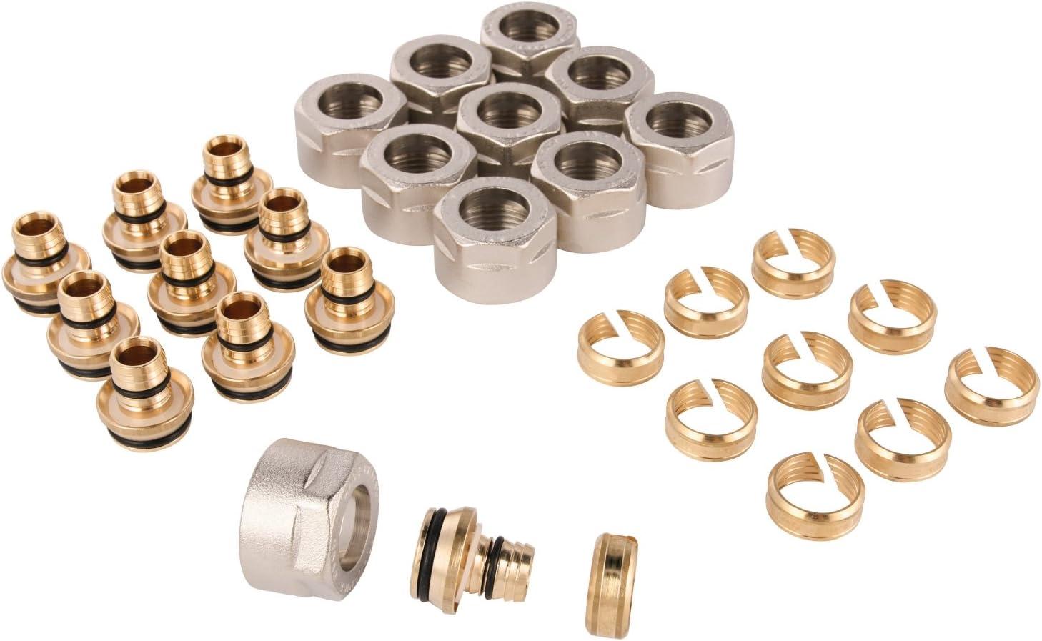 10/unidades con Atornillado Fitting para tubo multicapa, 1//2/A x 16/mm, cromo, 26112/8 Wiroflex Anillo de adaptador para tubo