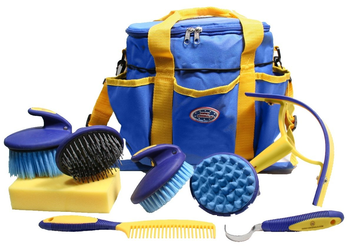 Derby Premium Comfort 9 Item Horse Grooming Kit (Blue/Yellow)