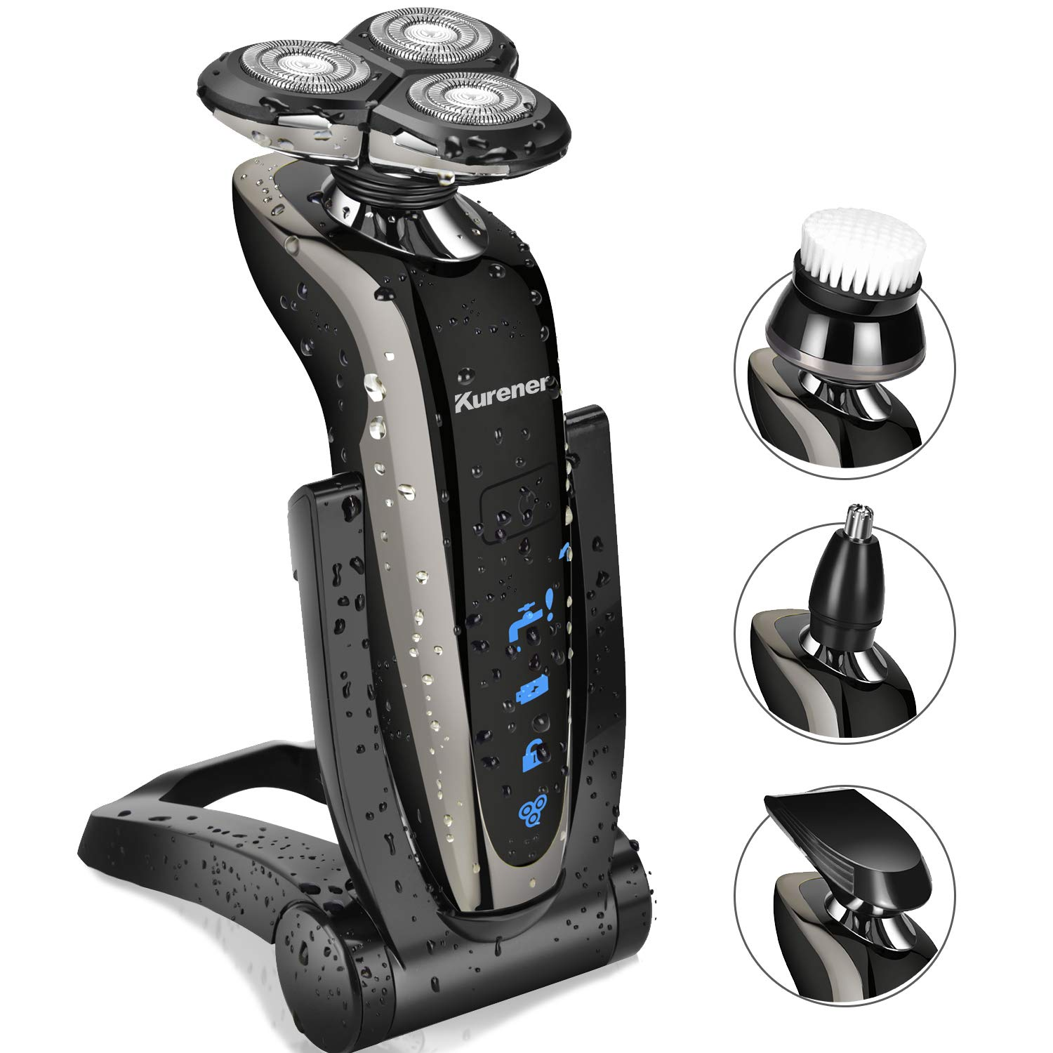 Kurener Electric Shaver Razor for Men Rechargeable 100% Waterproof Rotary for Shaving With Nose Trimmer Sideburns Trimmer Face Cleaning Brush