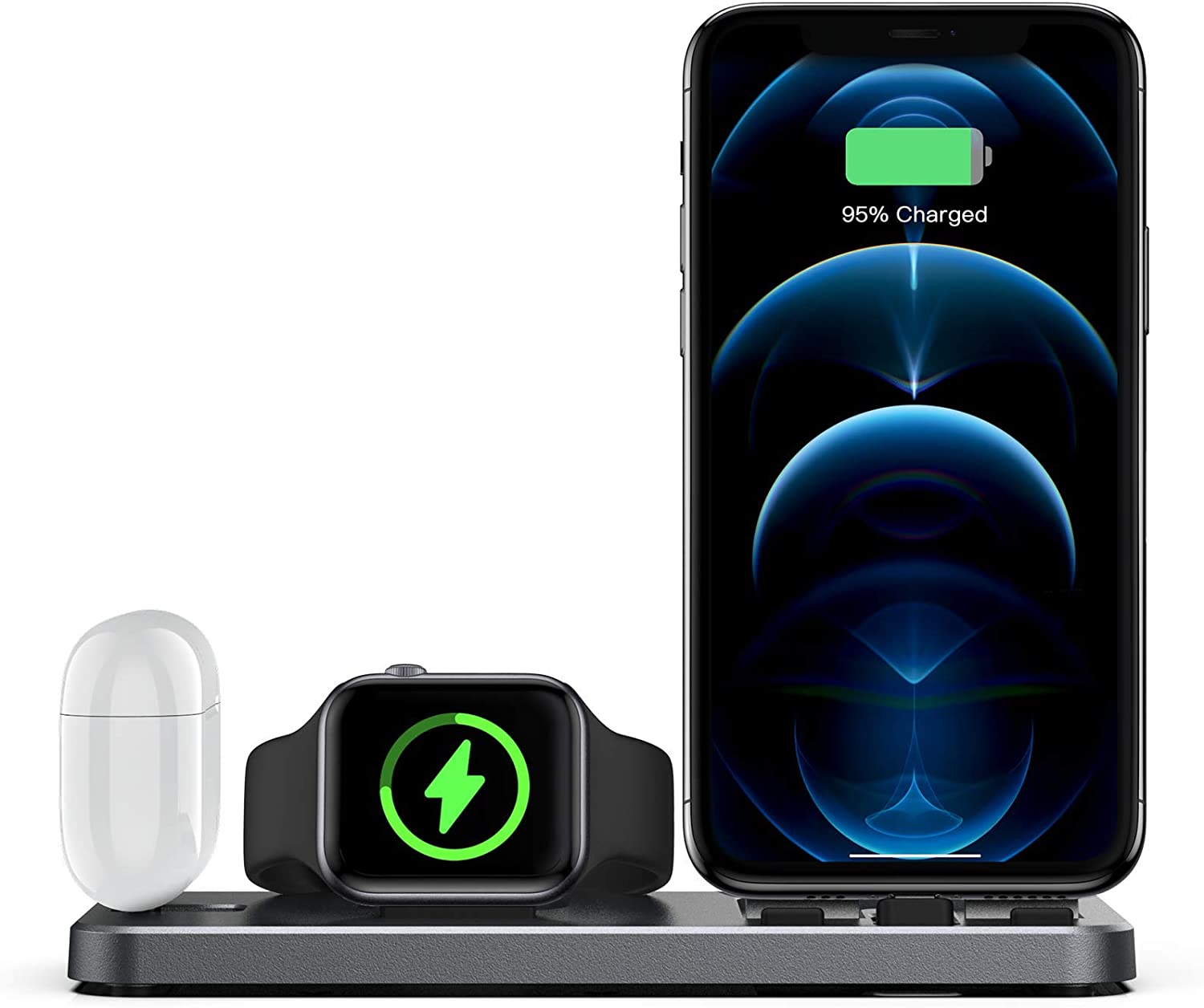 CEREECOO Portable 3 in 1 Charging Station for Apple Products Foldable Charger Stand for iWatch 1/2/3/4/5/6 Mini Charging Stand Compatible with iPhone Airpods pro/1/2 Charging Dock Holder (Space Gray)