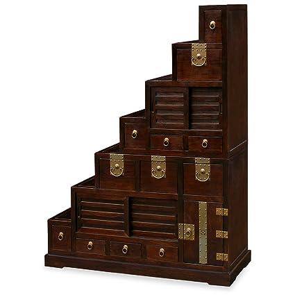 ChinaFurnitureOnline Elmwood Tansu Cabinet, Hand Crafted Japanese Style  Step Tansu Chest Dark Brown Finish